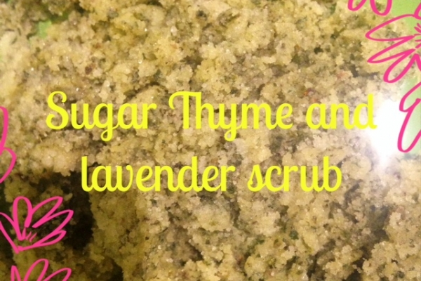 Sugar, thyme and lavender scrub