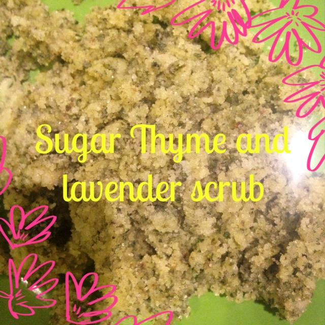 Sugar, thyme and lavender scrub